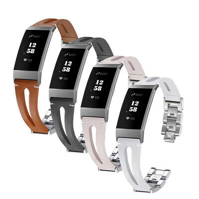For Fitbit Charge 3 Watchband Genuine Leather Stainless Steel Metal Watch Strap