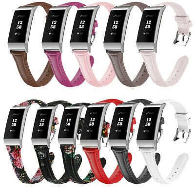 For Fitbit Charge 3 Watchband Leather Thin Flowers Wrist Watch Strap