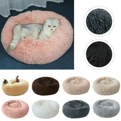 US Pet Dog Cat Calming Bed Round Nest Warm Soft Plush Comfortable Sleeping
