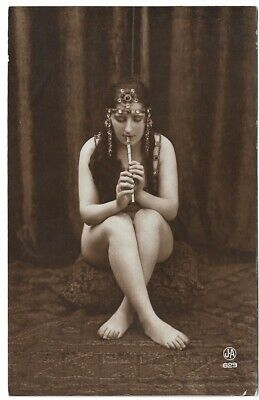 1910s Nude French RPPC Real Photo Postcard Salome-Style Model, Flute Jean Agélou