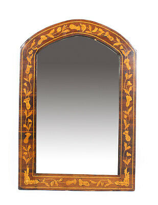 Antique Dutch Flame Mahogany & Floral Marquetry Wall Mirror 19th Century