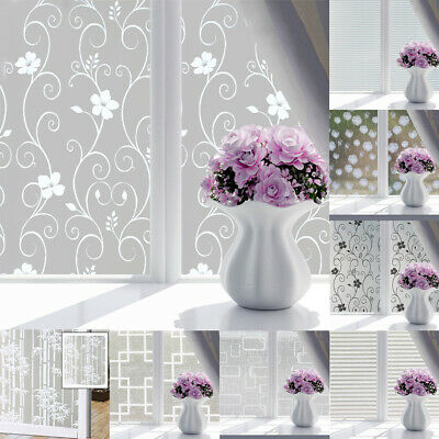 Window Glass Frosted Opaque Privacy Etched Self Adhesive Film Bedroom Bathroom