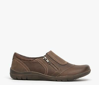 Earth Spirit GREENWOOD Ladies Casual Smart Nubuck Leather Casual Shoes Brown