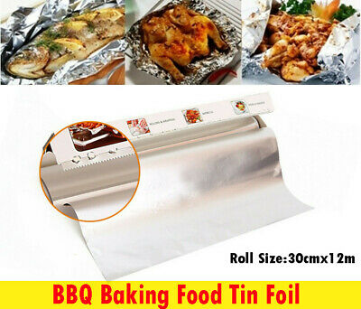30CM x12M Aluminium Foil Kitchen Tin BBQ Food Baking Wrap Food Tin Foil M0