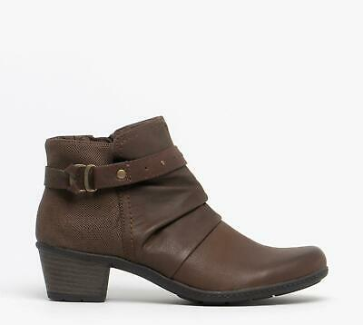 Earth Spirit MELROSE Ladies Winter Modern Nubuck Leather Ankle Boots Dark Brown
