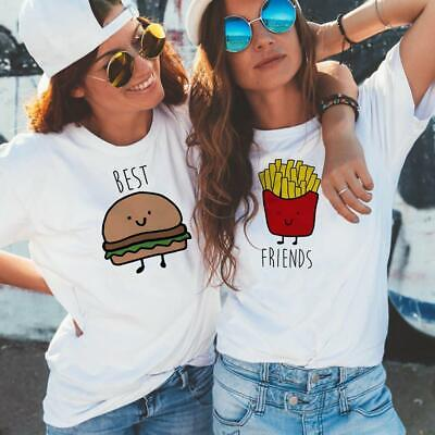 Tops Tees Burger and Fries Summer Short Sleeve Matching Clothes Bff T Shirt Wome