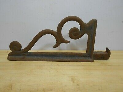 ONE Antique Cast Iron Hook Mount Shelf Bracket Steampunk Barn Heavy Duty.