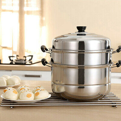 Steamer Thick Three-layer Soup Steam Pot Cooking Pots for Induction Cooker