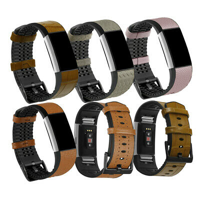 For Fitbit Charge 2 Watchband TPU + Leather Replacement Wrist Watch Strap