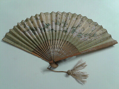 Antique Bamboo and Silk Hand Painted Hand Fan Japan