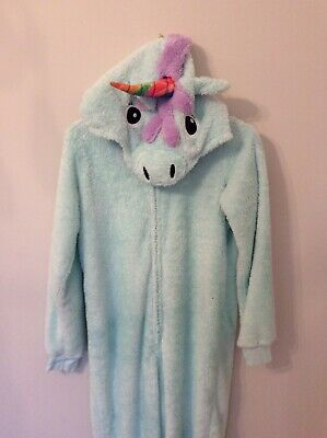 M&S Girls Unicorn All In One Pyjamas One Piece 11-12 Aqua Nightwear Loungewear
