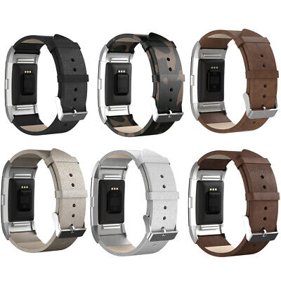 For Fitbit Charge 2 Watchband Stainless Steel Leather Replacement Strap Band