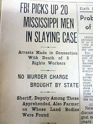 1964 newspapers FBI ARRESTS MISSISSIPPI SHERIFF 4 Murder o3 CIVIL RIGHTS workers