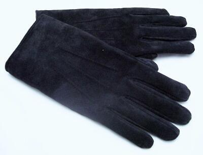 Gloves Ladies Black Suede Leather Wrist Length Size Large