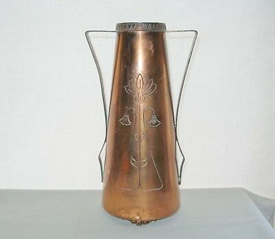 Magnificent ART NOUVEAU Etched VASE Signed BENEDICT KARNAK BRASS Egyptian style