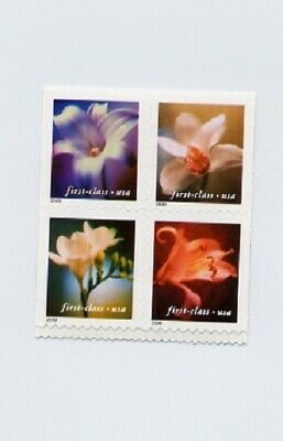 3454-3457b Flowers 34c) top Pane of 4 from Vending Booklet with P# on back