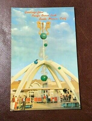 Vintage Postcard PACIFIC OCEAN PARK ENTRANCE Santa Monica CA UNUSED PLASTICHROME