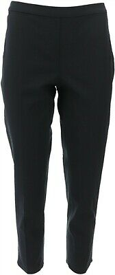 Isaac Mizrahi Chic 24/7 Stretch Fitted Pull-On Ankle Pants Black 10P NEW A255551