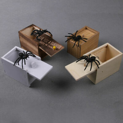Wooden Prank Spider Worm Scare Box Funny Practical Joke Gag Toys Trick UK