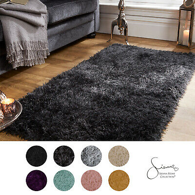 Sienna Large Shaggy Floor Rug Plain Soft Sparkle Area Mat 5cm Thick Pile UK HOT