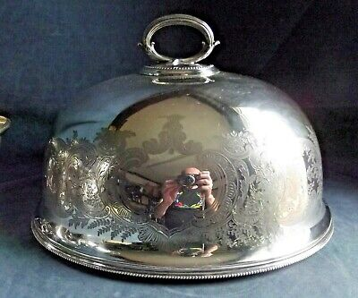 """Superb LARGE 15"""" ~ ELKINGTON ~ SILVER Plated ~ ENGRAVED Food COVER Dome ~ c1900"""