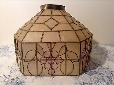 Vintage French Capiz Shell Large Light / Lamp Shade - Grapes (4063)