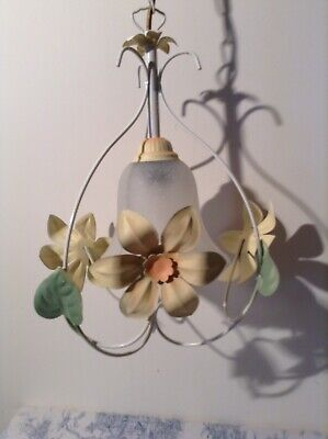 French/Italian Style Tole Toleware Pendant Ceiling Light - Yellow Flowers (1975)