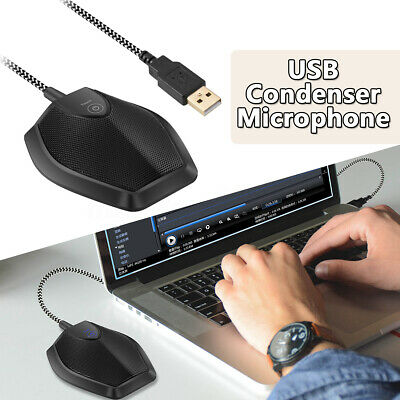 USB Wired Microphone Omnidirectional Condenser Microphone  w/ Touch Mute Button
