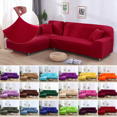 Elastic Sofa Cover Stretch Fabric Solid Color Corner Couch Anti-ash Decor Covers