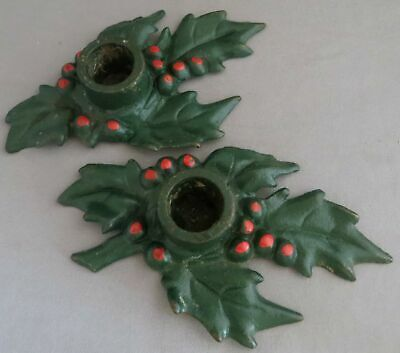 Vintage 1920's Antique Christmas Holly & Berries Cast Iron Candle Holders