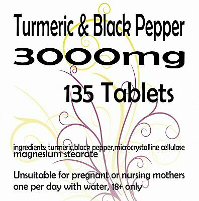 Turmeric and Black Pepper 2500mg  10mg Tablets Curcumin Piperine Extract x 135