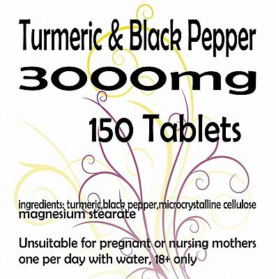 Turmeric and Black Pepper 2500mg  10mg Tablets Curcumin Piperine Extract x 150
