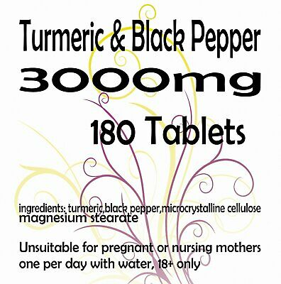 Turmeric and Black Pepper 2500mg  10mg Tablets Curcumin Piperine Extract x 180