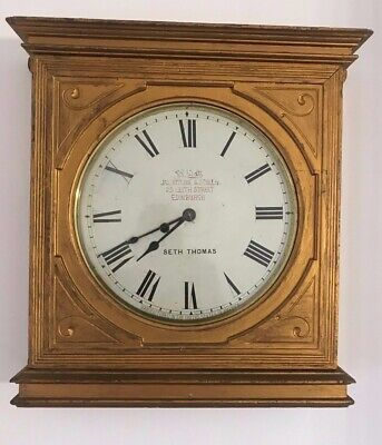 Rare Antique Seth Thomas Large Gilt Wall Clock Edinburgh / Nottingham Interest