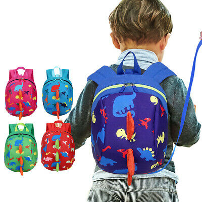 Toddler Kids Baby Cartoon Dinosaur Safety Harness Strap Bag With Reins Backpack