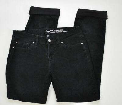 better skate shoes structural disablities GAP REAL STRAIGHT Fit Corduroy True Black Jeans Size 4 Women's Stretch Cord