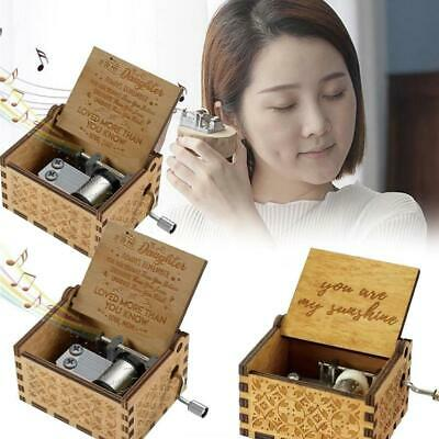 Wooden Music Box Mom/Dad To Daughter You Are My Sunshine Toy Kid Gift Engra T6D4