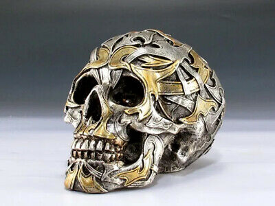 Skull with Gold & Silver decor Figurine Statue Skeleton Halloween