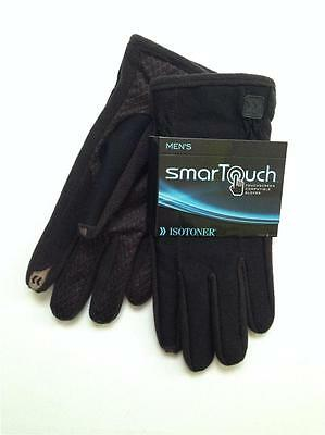 NEW Isotoner Men's Gloves Large SmarTouch Black Stretch Touchscreen Compatible