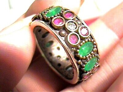 Emerald ruby  BAND STERLING SILVER 925 YELLOW GOLD RING 8.75 old vintage classy