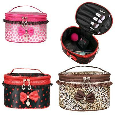 New Girl's Sweet Lace Bowknot Travel Makeup Storage Beauty Case ENE 01