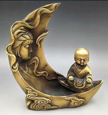 Chinese Hand Carved brass Quan yin Boy Backflow incense furnace statue