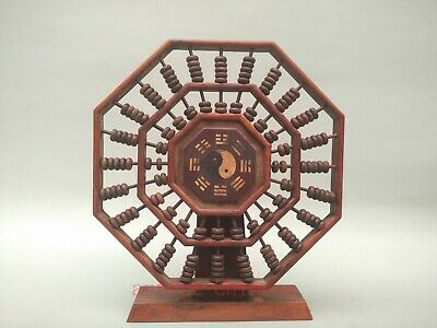 Collection Old China Hand Carving Wood Fengshui Eight Diagrams Abacus Decoration
