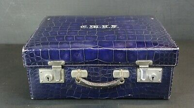 Very Rare Immaculate Antique Luxury Blue Crocodile Suitcase