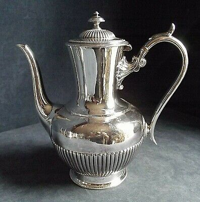 SUPERB Large ~ SILVER Plated ~ BULBOUS Fluted TEAPOT ~ c1900 by James Dixon
