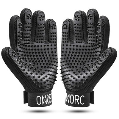 OMORC A Pair of Pet Grooming Glove, Fur Remover and Relaxing Massage for Dog,