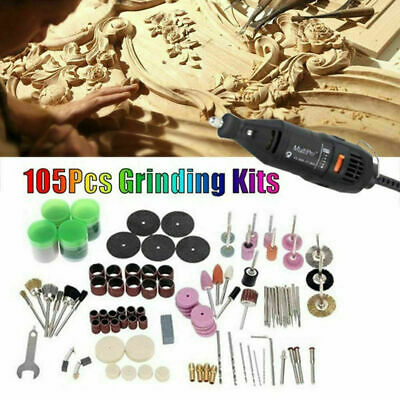 105Pcs Mini Electric Drill Grinder Rotary Tool Grinding Set Polishing R1H2