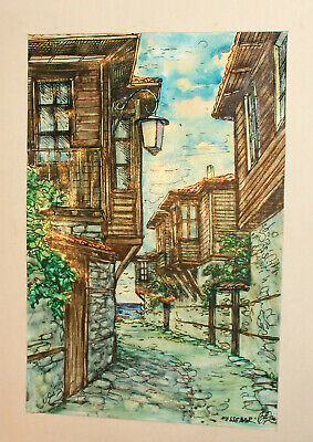 Vintage impressionist watercolor/ink painting cityscape signed