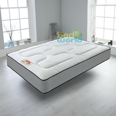 Grey Quilted Sprung Mattress 3Ft 4Ft'6 5Ft Memory Foam Topped Mattress Double
