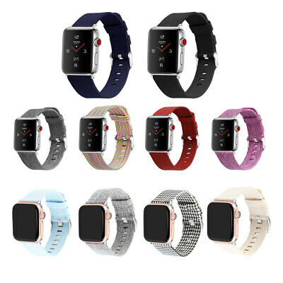 For 38/42mm iWatch 1 2 3 4 Watchband Nylon Canvas Replacement Wrist Watch Strap
